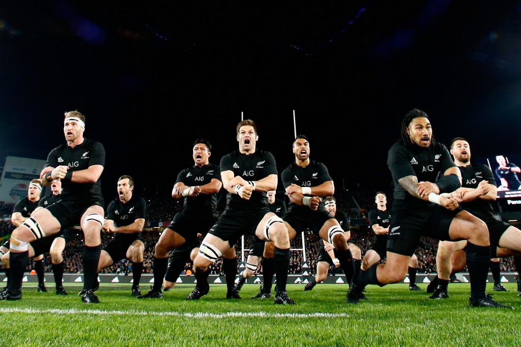 AUCKLAND, NEW ZEALAND - AUGUST 15: (L-R) Kieran Read, Richie McCaw and Ma'a Nonu of the All Blacks perform the haka during The Rugby Championship, Bledisloe Cup match between the New Zealand All Blacks and the Australian Wallabies at Eden Park on August 15, 2015 in Auckland, New Zealand. (Photo by Phil Walter/Getty Images)